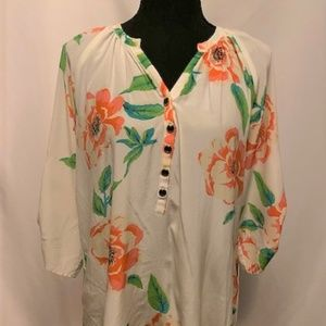 White, Pink, & Green Floral Silk Blouse, Size Med